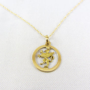 Vintage 18K Yellow Gold Griffin Pendant Necklace, Mythical Gryphon Dragon Circle Charm Pendant Fine Jewelry