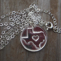 Texas State Necklace, Silver Texas Heart Necklace, State Jewelry