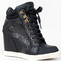 Bamboo JODIE-01 Glitter Detailed Hidden Wedge Heel Lace Up High Top Wedge Sneaker Shoe