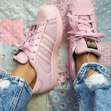 adidas Originals Superstar Pink Mesh Fashion Shell-toe Series Flats Sneakers Sport Sho
