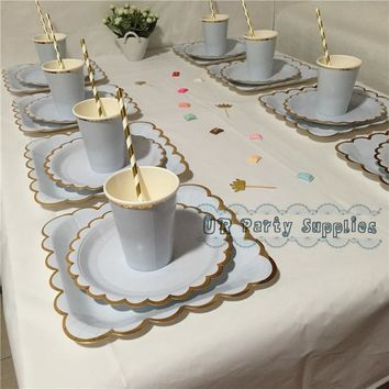 16sets Foil Gold  Plates Cups Straws Cocktail Napkins Bridal Wedding Decor