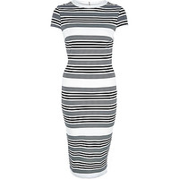 River Island Womens Black stripe short sleeve midi dress