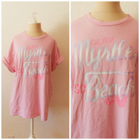 Vintage 80s Hot Pink Purple Seashell Myrtle Beach T Shirt