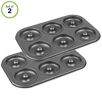 Evelots 6-Cavity NonStick Donut & Bagel Baking Pan, Choice of 1 or 2