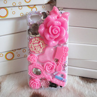 kawaii case .iphone 4 cover case, iphone 4s cover case.DIY princess case.rose and jewelry case art.white and pink