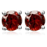 Sterling Silver 6mm Round Gemstone Stud Earrings