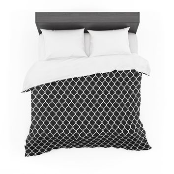 """Project M """"Chain Link Black"""" Black White Digital Featherweight Duvet Cover"""