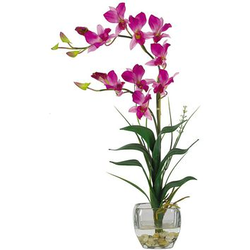 Silk Flowers -Purple Dendrobium With Glass Vase Flower Arrangement Artificial