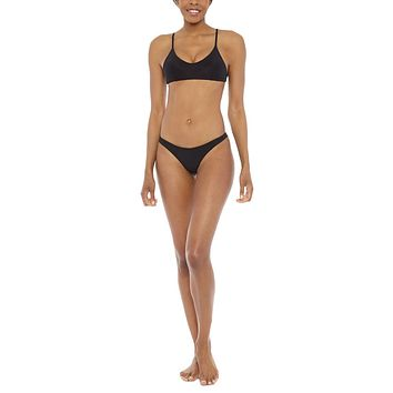 Muse Sporty Scoop Neck Bralette Bikini Top - Black