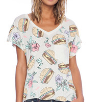 Wildfox Couture Hamburgers Tee in Ivory
