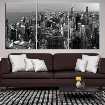 43989 - Chicago Wall Art Canvas Print - Extra Large Chicago City Night Canvas Print