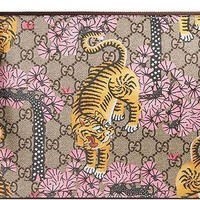 DCCKUG3 Gucci GG Bengal Blossoms Pink Tiger Pouch Box Authentic Leather Wrist Zip Strap Italy New