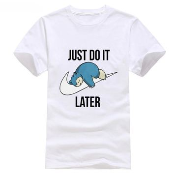 hot new fashion top  Just Do It Later Quote Lazy  Snorlax Cartoon Boys Men T Shirt  Tee discout  Kawaii Pokemon go  AT_89_9