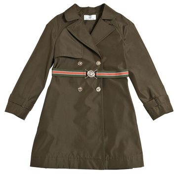 Versace Girls Military Green Trench Coat