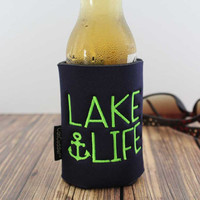 Lake- Lake Life- Beer Cooler- Embroidered- Lake Gift- Beach- Nautical - Anchor- Can Cuddler - & Free- KOOZIE ®- Can Coolie- Beer Hugger
