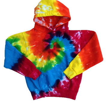 The Groovy Blueberry Children's Rainbow Swirl Tie-dye Hoodie Fleece-Lined, Comfy, and Warm