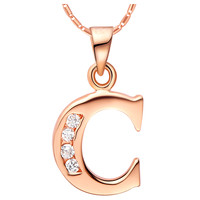 18K Rose Gold Plated Alphabet Initial Letter C Pendant Necklace