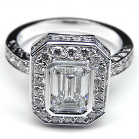 Engagement Ring - Emerald Cut Diamond Bezel Set Double Halo Engagement Ring - ES926ECWG