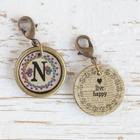 """""""N""""  Junk  Market  Vintage  Initial  Charm  From  Natural  Life"""