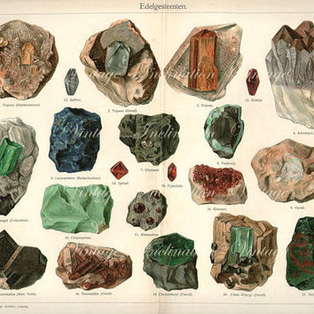 Vintage Print 1890 12 1/4 x 10 LARGE Antique GEMSTONES Chart German, vintage 21 minerals precious gem stones illustrations