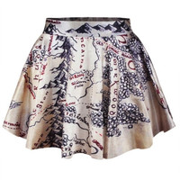 New 2015 summer skirts womens pleated skirts The Hobbit Map Printed Skirt Saia (Color: Beige) = 1945936900