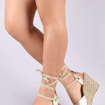 Metallic Lace Up Peep Toe Espadrille Wedge