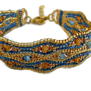 Blue and gold beaded bracelet with Swarovski elements. Seed beads jewelry