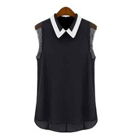 Black Collared Sleeveless Chiffon Blouse
