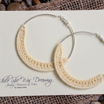 75mm Natural Bamboo Crocheted Silver Plated Hoop Earrings -Buttercup