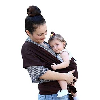 Baby Sling Carrier,Birth to 3 Yr Breastfeeding Nursing Cover Super Soft 100% Organic Cotton Baby Wrap by Liberty Slings Hands Free Ergonomics Baby Carrier (Brown)