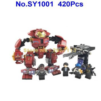 SY1001 420pcs Super Hero Avenger Hulkbuster Smash Banner Proxima Midnight Building Block 76104 Brick Toy