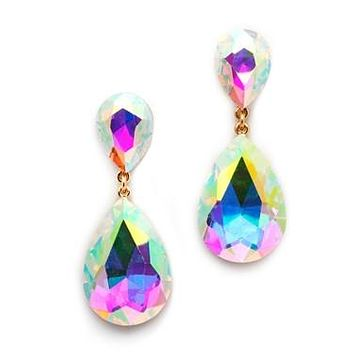SALE    Aurora Borealis Crystal Teardrop Dangle Earrings