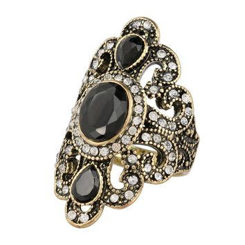Fashion Antique Style Gold Rings for Women Black Red Blue Resin Stone Strass Bohemian Turkish Ring Female Ethnic Punk Vintage Fine Jew