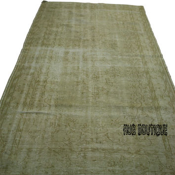 Handmade Turkish Carpet Beige  - Vintage Turkish Rug- (181 X 296 cm)(6 ft X 9,7 ft)