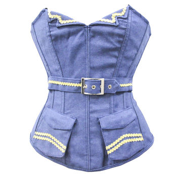Bustiers and Corsets Sexy Ladies Blue Denim Burlesque Top V-Neckline Pocket Basque Waist Trainer Shaper For Plus Size Women XXL