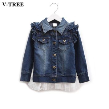 Girls Denim Jacket Spring Autumn Lace Coats For Teenagers Girl Ruffle Outerwear Children's School Wear