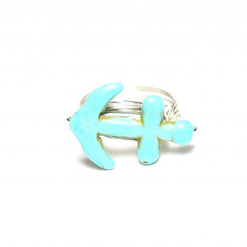 Anchor Ring Wire Wrapped Custom Wire Ring Turquoise and Silver Beach Wedding Tattoo Style Trendy Jewelry Ocean Ring Custom Sized Ring