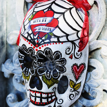 Red & Black Dia De Los Muertos Mask - Sugar Skull Mask - Hand Painted Sugar Skull Mask - Mexican Folk Art - Classic Mask - Skeleton Art