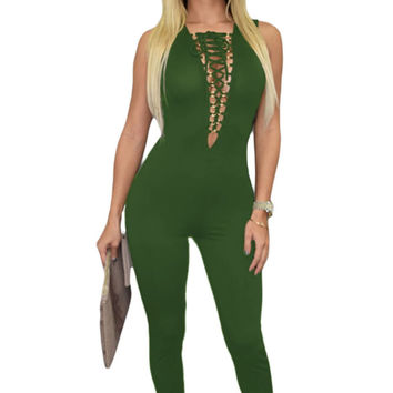 Olive Sexy Lace-up Bust Deep V Neck Jumpsuit