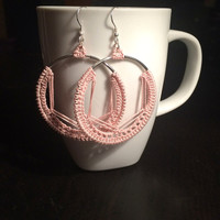 Nickel free earring,Silver crochet earring,Crochet woven dangle,Rose quartz earring,Pink boho earring,Pink circle earring,Boho crochet hoop