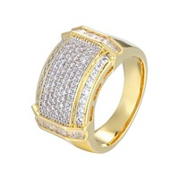 Men's Designer  14k Gold Finish Baguette Ring