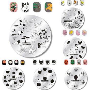 Animal Prints Nail Stamping Plate Hipster Collection Animal Faces Image Nail Art Stamp Manicure Template