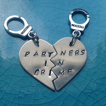 Partners In Crime Keychains - Nickel Silver- Best Friends Keychains