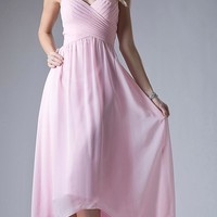 High Low Semi Formal Dress Pleated Bodice Empire Waist Pink