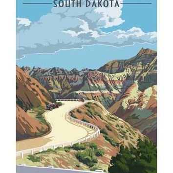 Badlands National Park, South Dakota - Road Scene Art Print by Lantern Press at Art.com