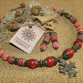 Coral Tribal choker necklace & earrings Ukrainian Coral cross necklace Chunky tribal choker with guardian cross Ukrainian Tribal jewelry