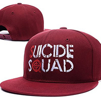 RHXING Suicide Squad Logo Adjustable Snapback Embroidery Hats Caps - Red