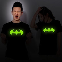 Unisex Noctilucent Black  Short Sleeve Round Neck Batman Pattern T-shirt Lover's Clothes  D311B-791 (Size: M) = 1927996804