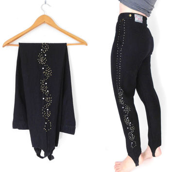 Sz 10 Bedazzled Black Stirrup Pants - High Waisted Women's Vintage 80s Studded Stretch Jeggings
