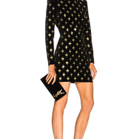 BALMAIN Embellished Velvet Mini Dress in Black & Gold | FWRD